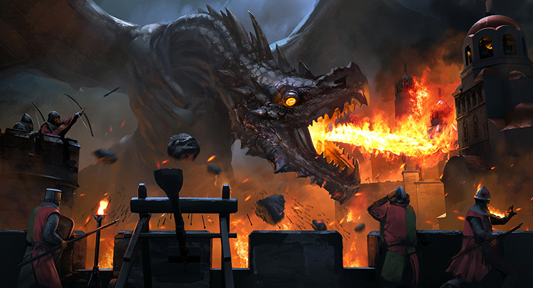 dragon creature battle castle fantasy concept art