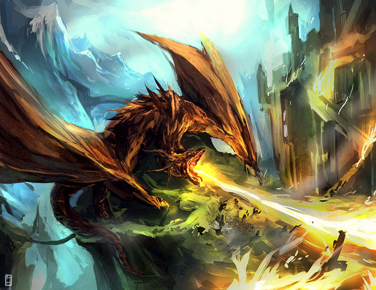 fierce dragon concept artwork digital paintings
