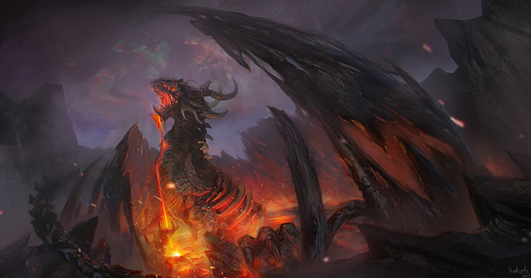 dragon monster volcano fantasy concept art