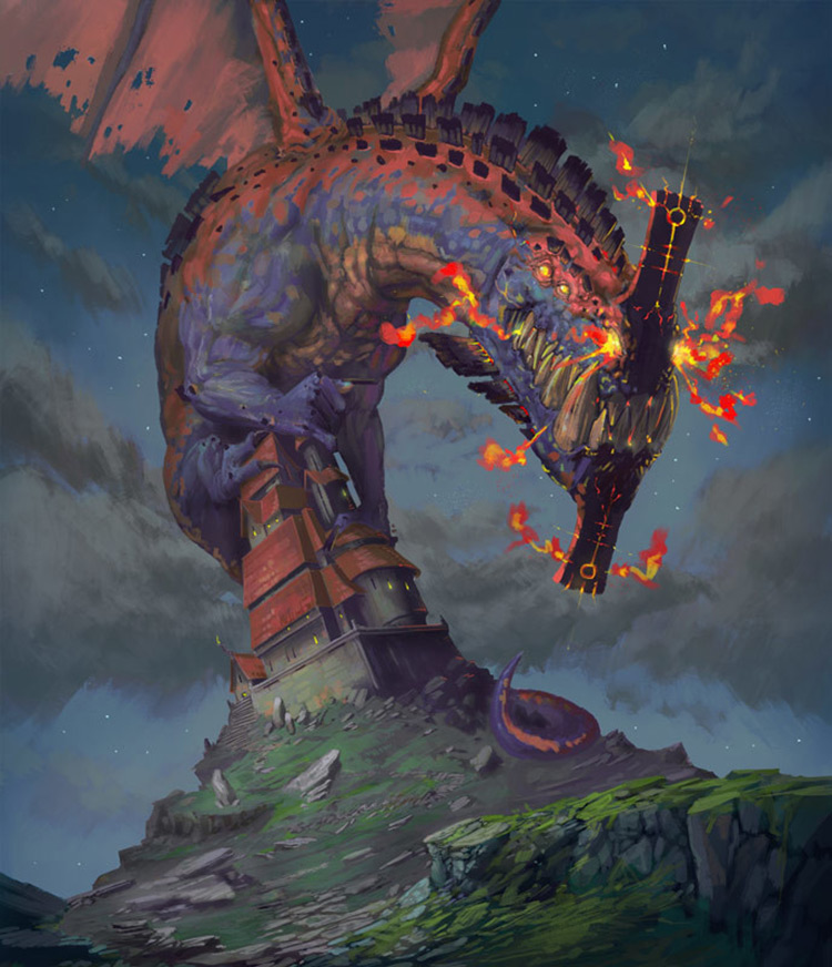 dragon monster creature castle art