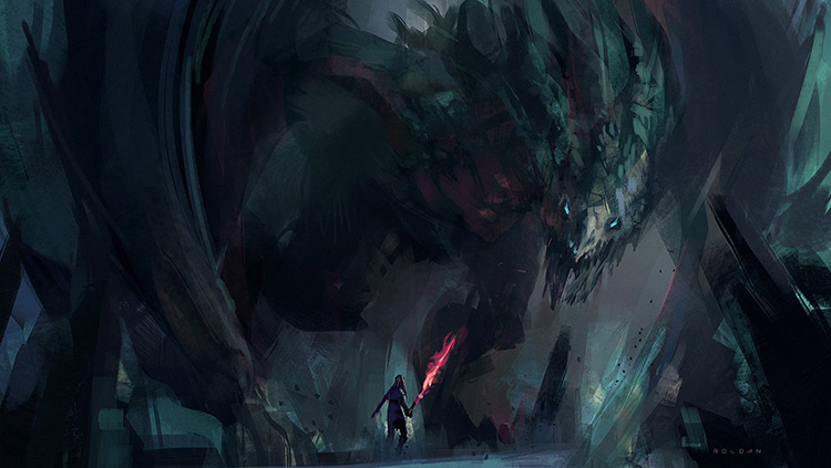 dragon cave fantasy art sketch