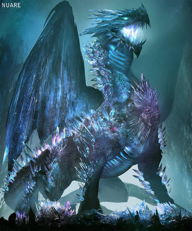 dragon ice creature monster dark fantasy art