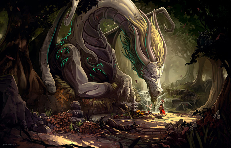 dragon forest magic sunlight fantasy art
