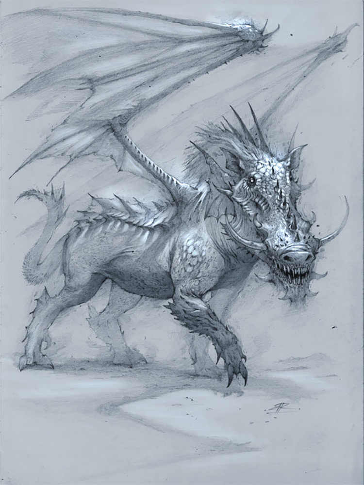 dragon creature warthog art sketch