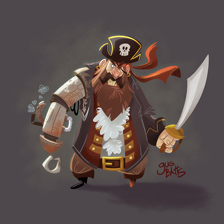 pirate cyborg character design art illustration
