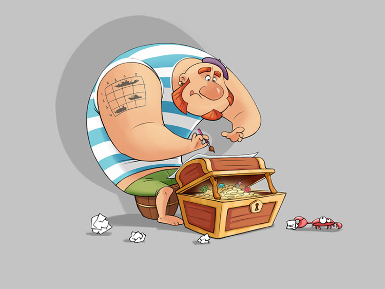 pirate gignger treasure chest art illustration