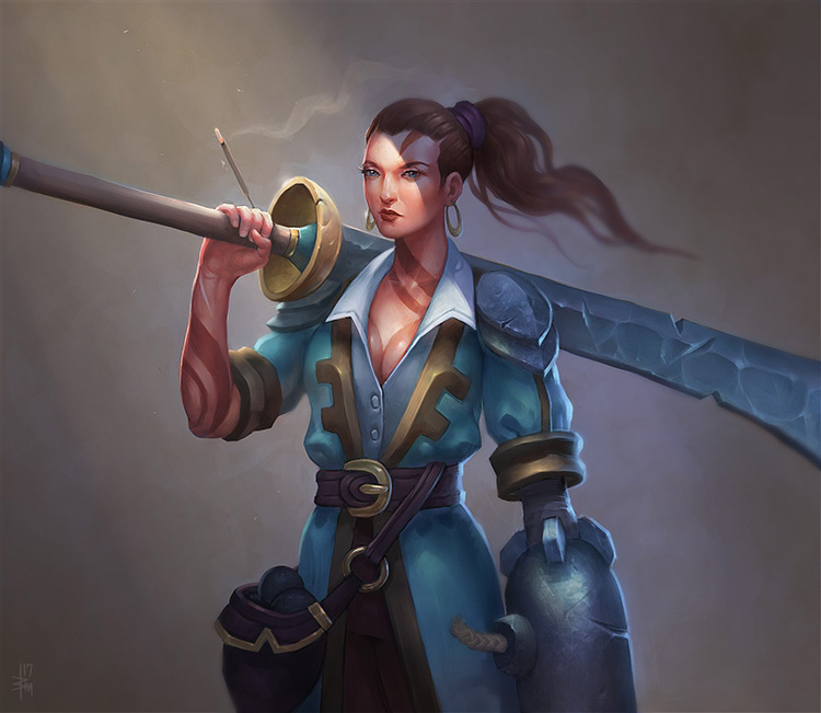 pirate female character sword cannon fantasy art concept