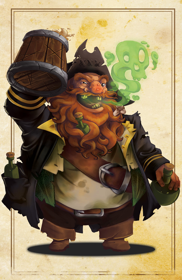 pirate ginger bottle rum character art