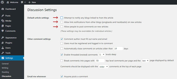 Discussion tab settings wordpress