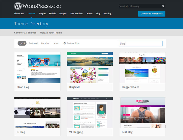 WP free blogs theme directory