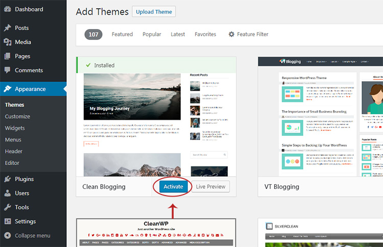 Clean Blogging active theme demo