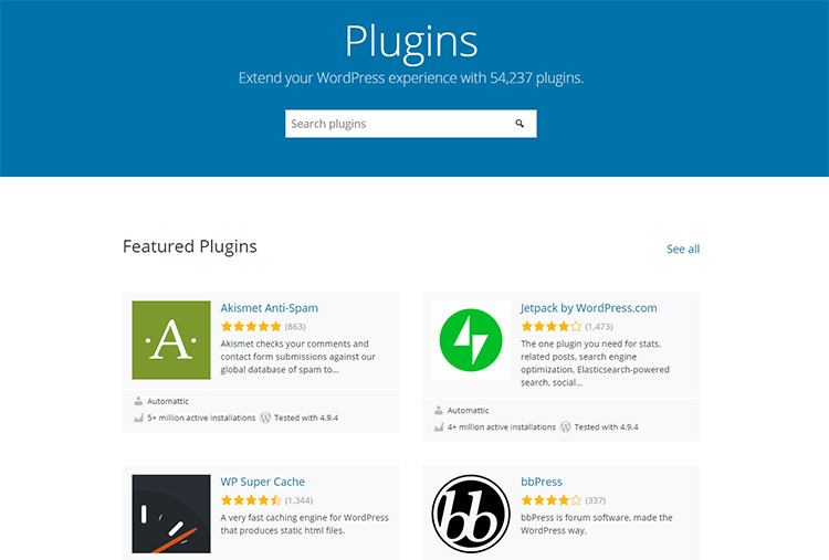 WordPress plugins repository