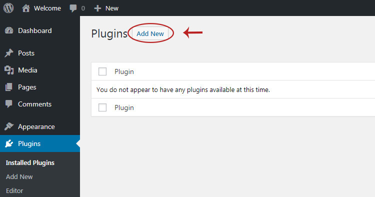 Add new wp plugin page