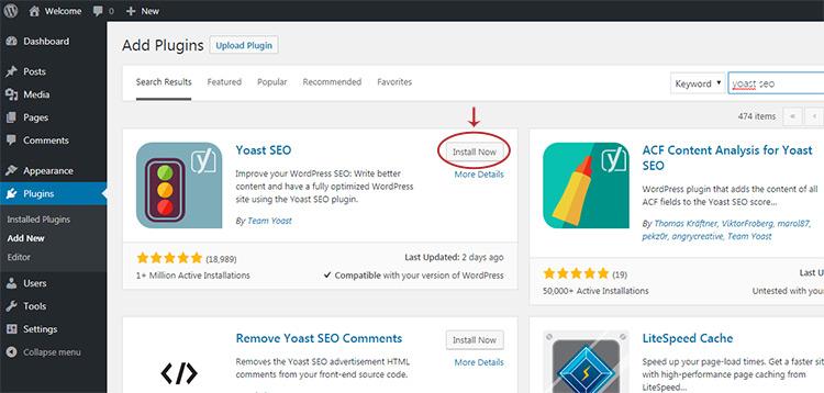 yoast seo plugin install