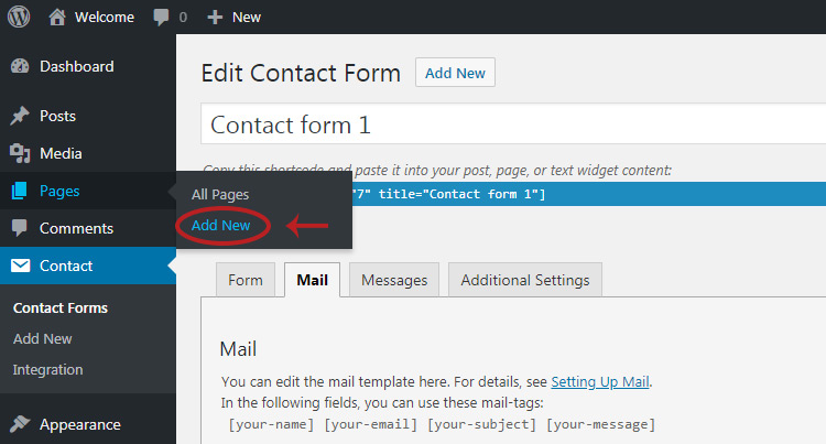 Add new contact page wordpress