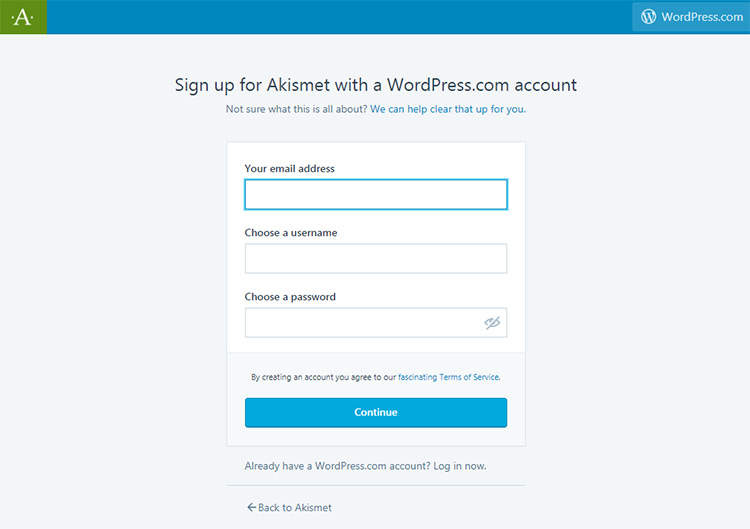 Create new WordPress.com account