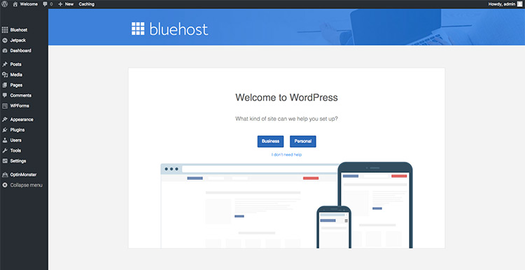 BlueHost hosting dashboard preview
