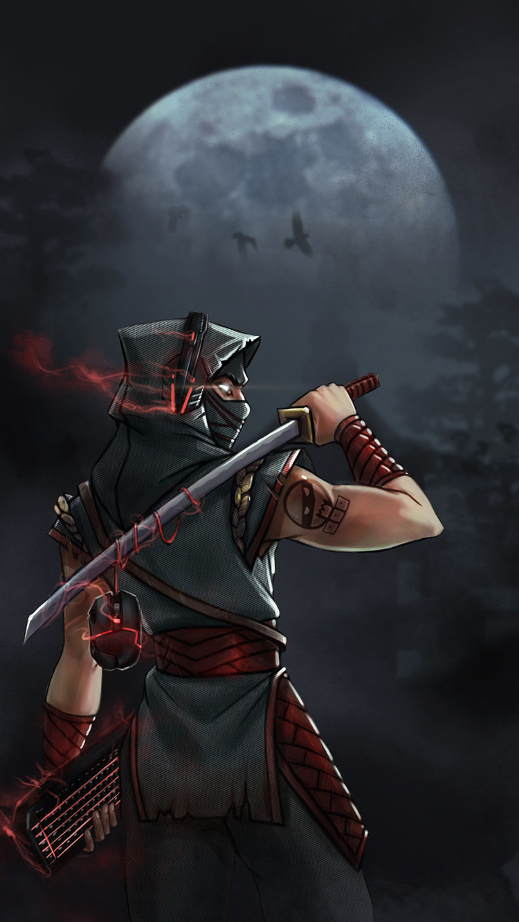 ninja night moon sword keyboard headphones art