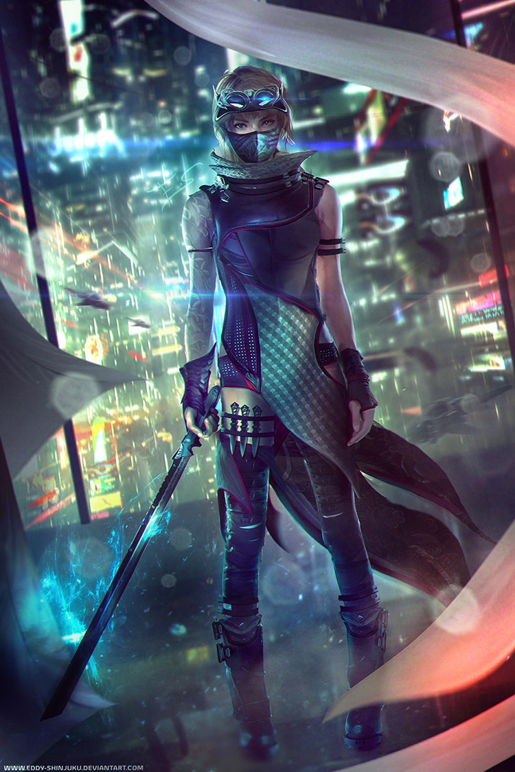 ninja sci-fi female cyberpunk concept art
