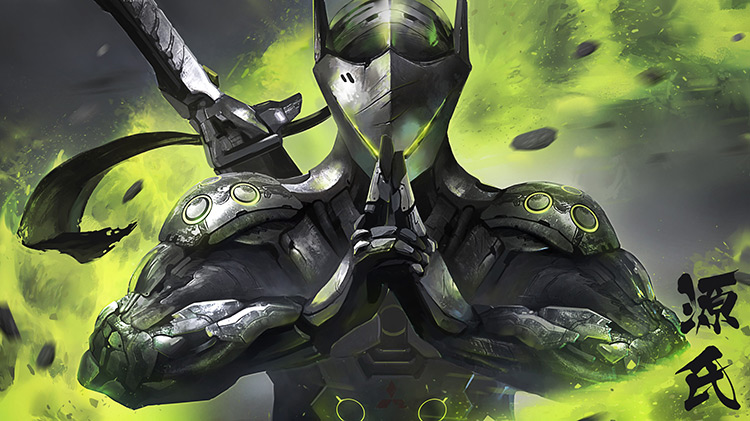 ninja overwatch game armor blade fan art