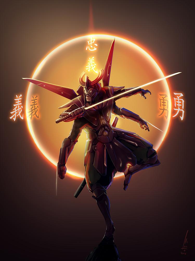 ninja robot samurai katana sci-fi concept art