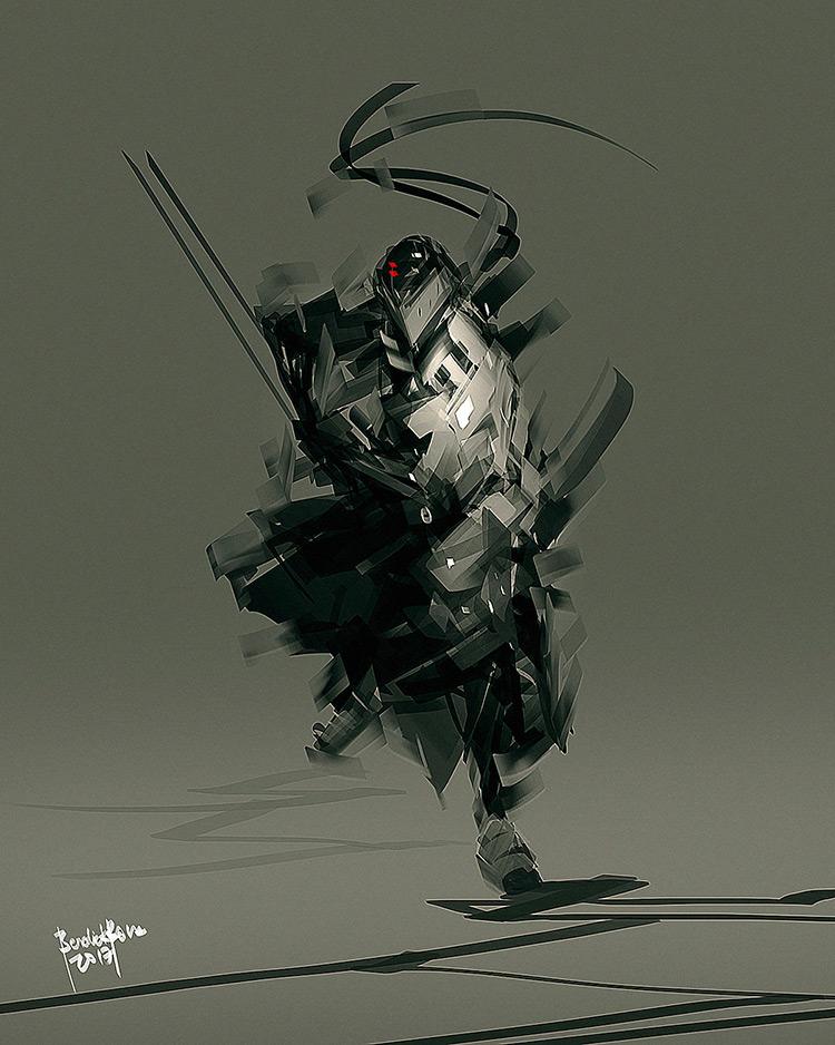 ninja speed katana fantasy character design art