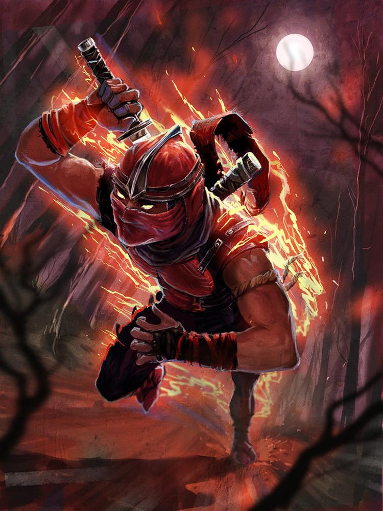 ninja warrior sword flame character design art
