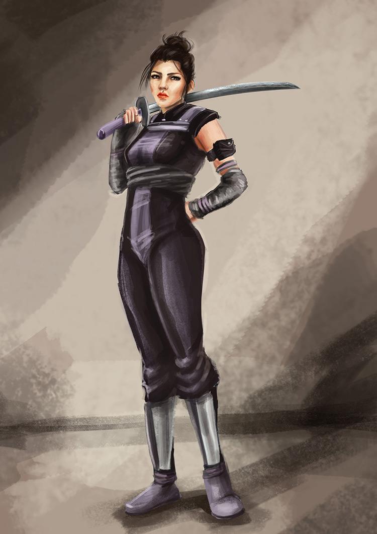 ninja sword trainer female character concept art