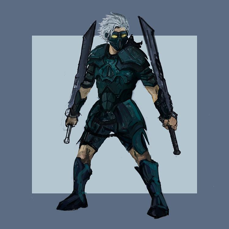 ninja swords mask character art sketch