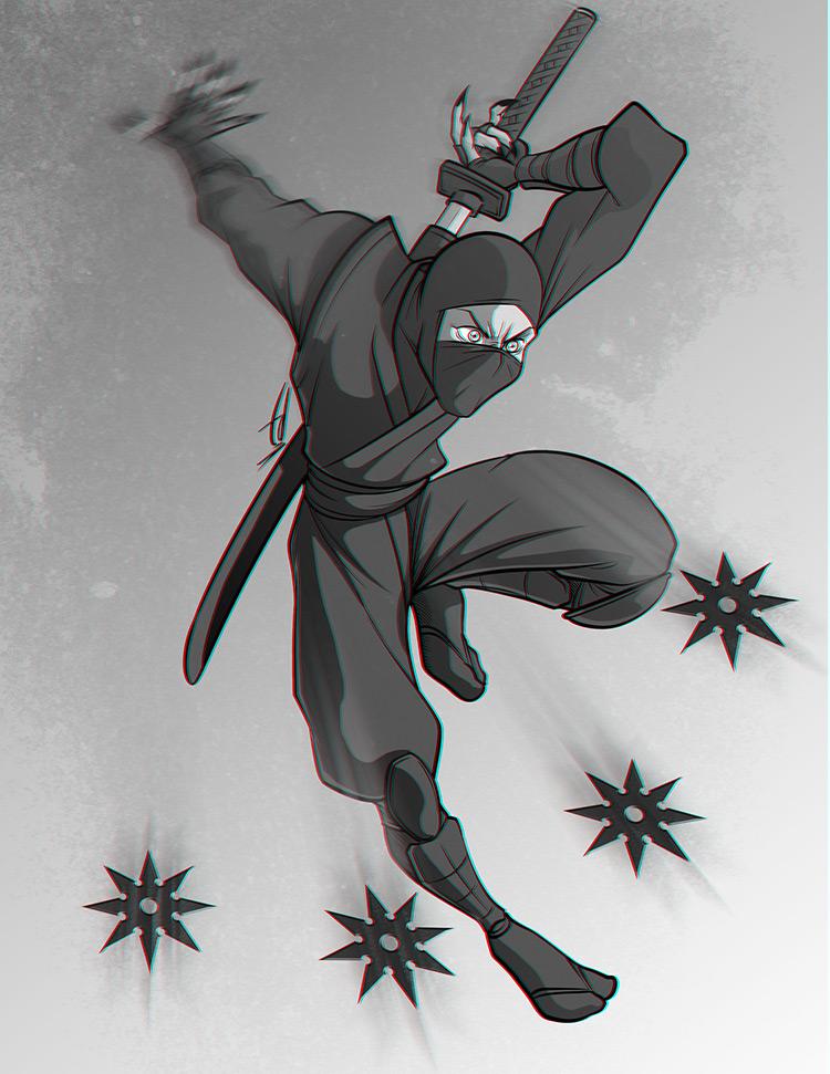 ninja sword shurikens character design art