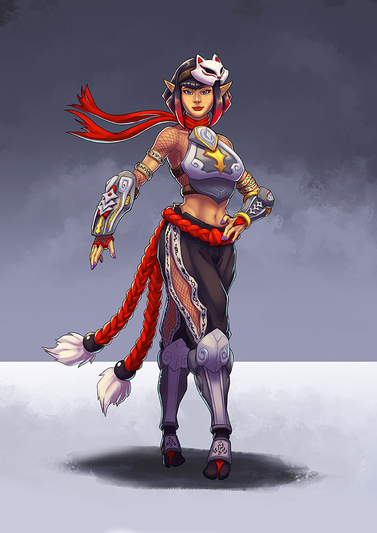 ninja female kitsune fantasy character concept art