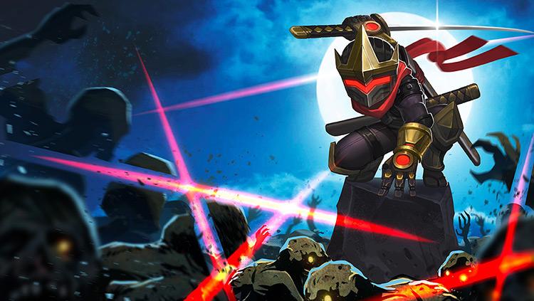 ninja zombies night moon sword art illustration