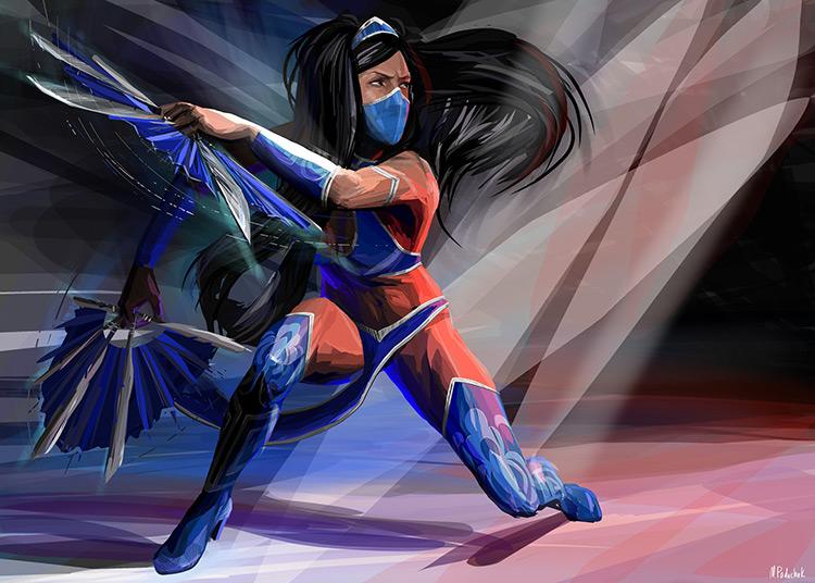 ninja warrior kitana mortal kombat character fan art illustration