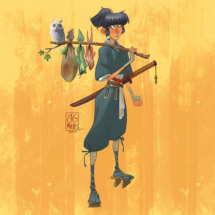 ninja traveler female owl character art illustration