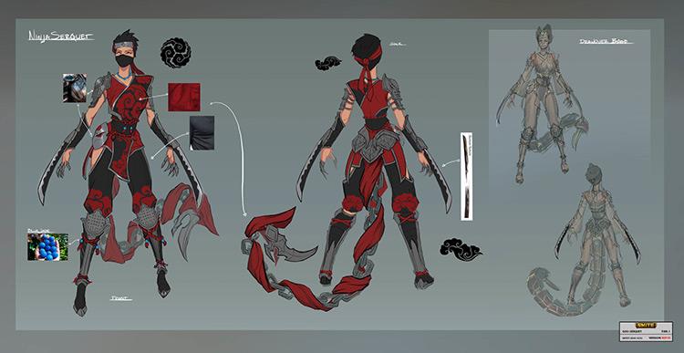 ninja character design concept art sketch
