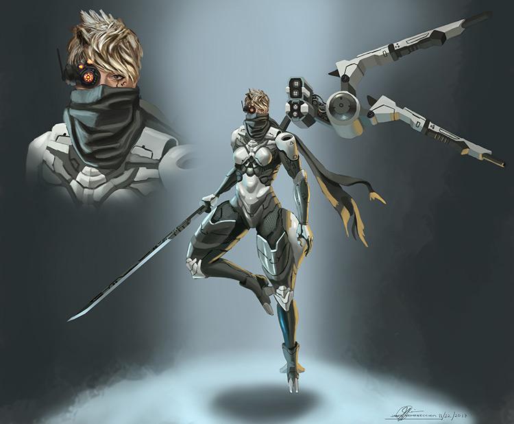 ninja angelic sci-fi female character design concept art