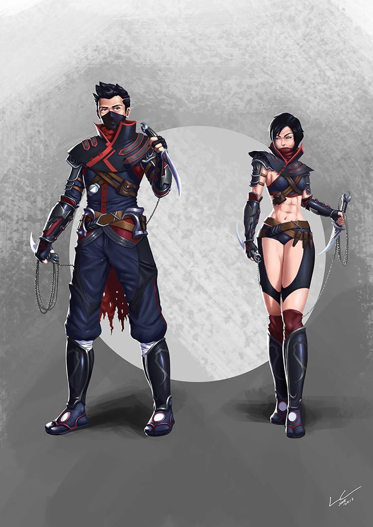 ninja assasin characters concept art illustration
