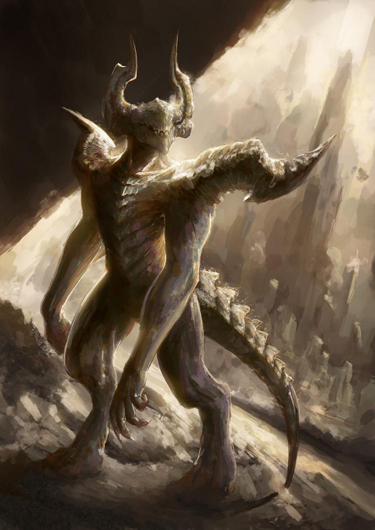 demon horns creature art illustration