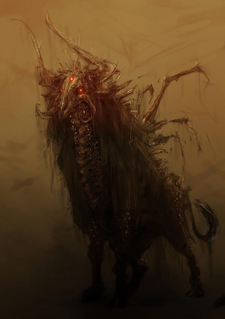 demon bull beast creature art illustration