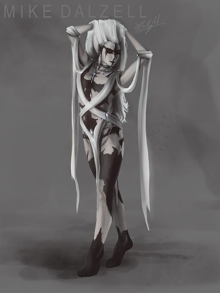 demon female marks magic concept art