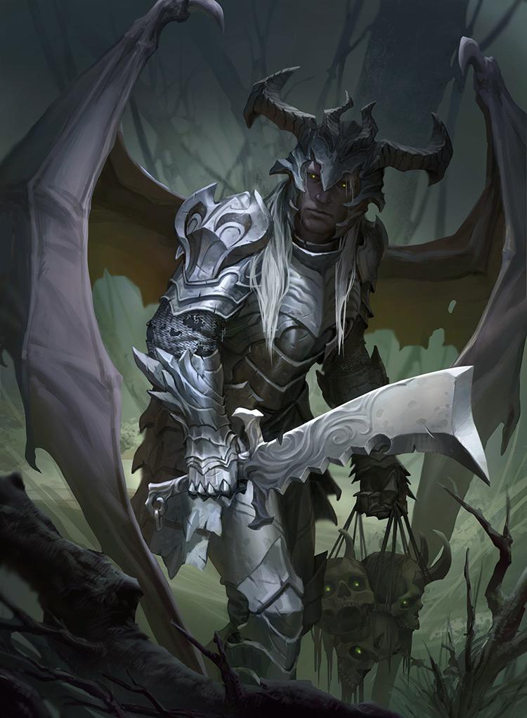 demon knight armor fantasy art illustration