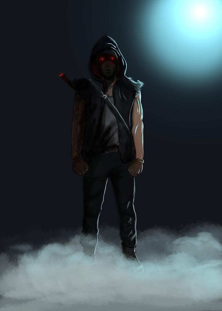 demon hood sword concept art illustration