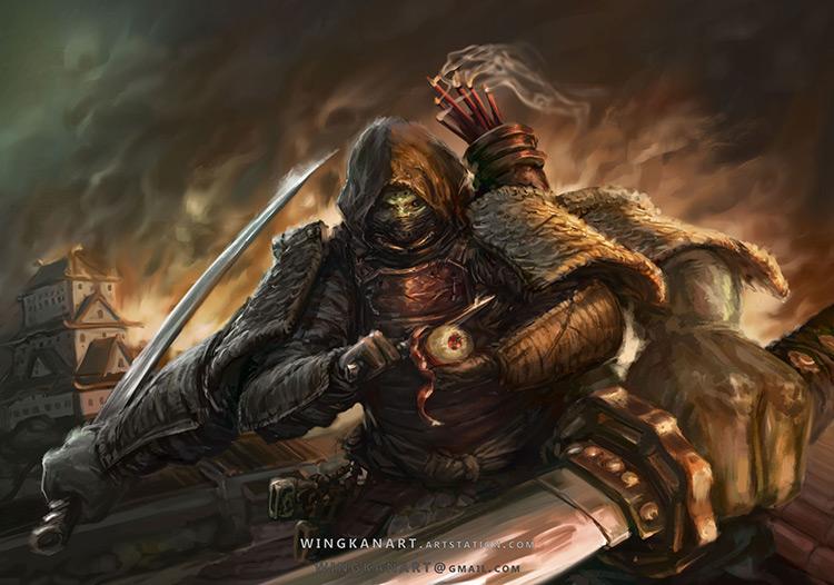 demon samurai swords character art illustration