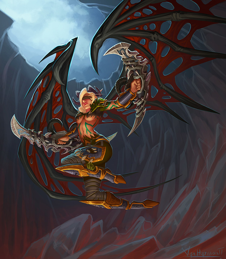 demon hunter blood elf blades wings art illustration
