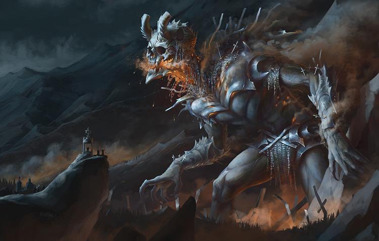 demon gigantic skull flame smoke monster art