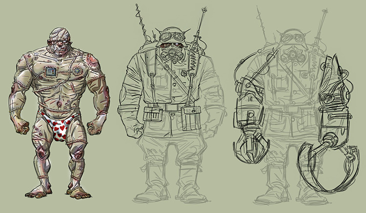 zombie soldier character design sketch concept art