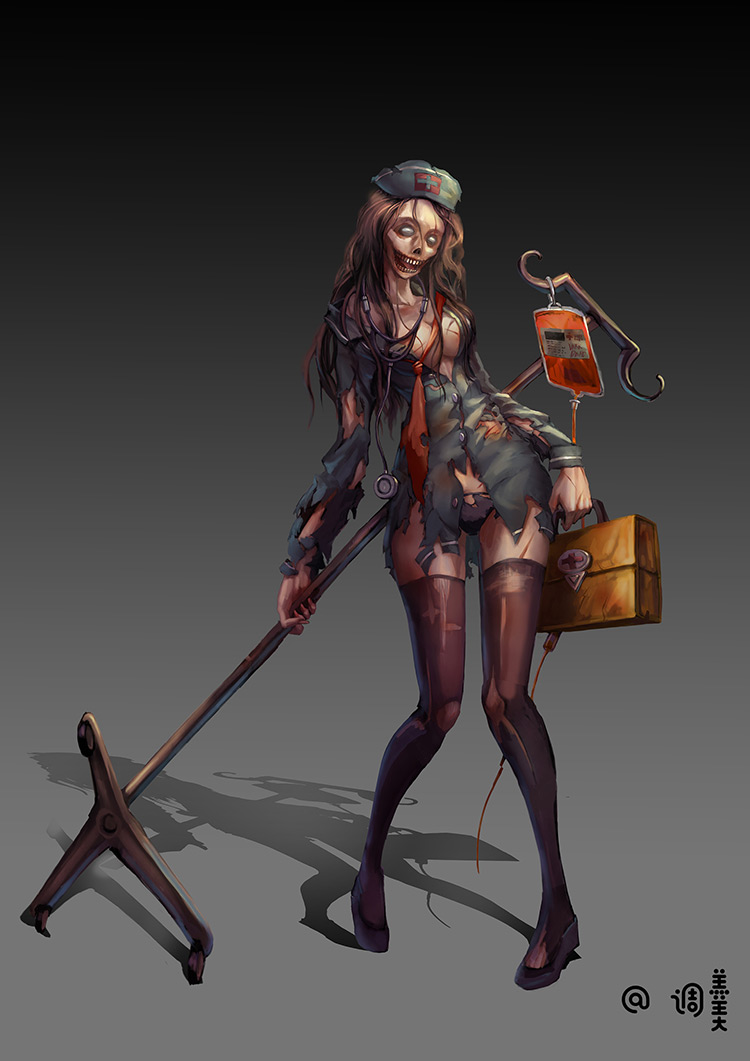 zombie nurse medicine hospital illustration character art