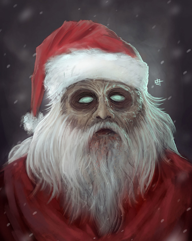zombie santa xmas character art illustration