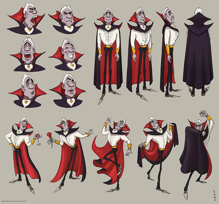 vampire character design concept art sketch