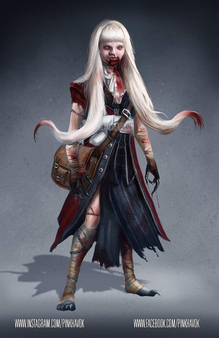 vampire girl blood creature character art illustration